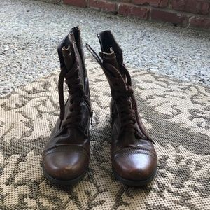 Women's Troopa Brown Leather Combat Boots